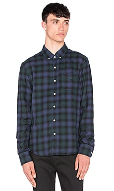 Joe's Jeans Slim Fit Shirt Double Woven Plaid in Navy Forest Plaid