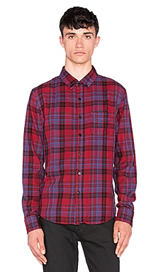 Joe's Jeans Slim Fit Shirt Double Woven Plaid in Carmine Black Plaid
