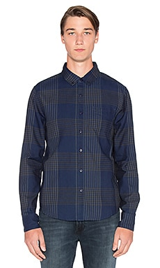 Joe's Jeans Slim Fit Shirt Double Woven Plaid in Indigo Plaid