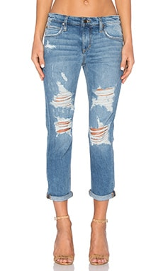 Joe's Jeans Mazie Collector's Edition The Billie Crop in Medium & Light Blue Distressed