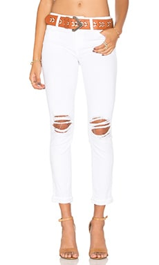 Danika Play Dirty Stay Spotless The Markie Crop in Optic White Distressed