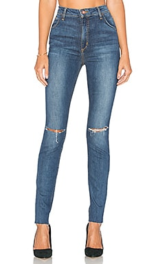The Bella High Rise Skinny en Distressed Medium Blue