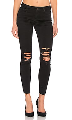 The Icon Ankle Skinny en Shredded Faded Black