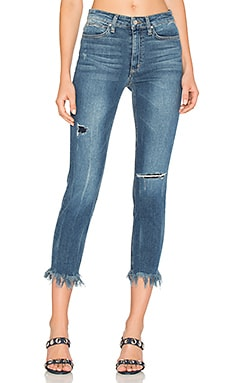 The Charlie High Rise Fray Hem Crop in Distressed Medium Blue