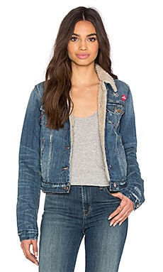 Barella Collector's Edition Joey Shearling Crop Jacket in Light Blue Distressed