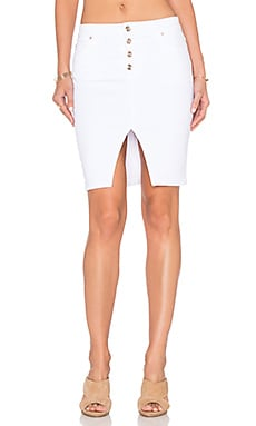 Joe's Jeans Marlie Play Dirty Stay Spotless Button Up Pencil Skirt in Optic White