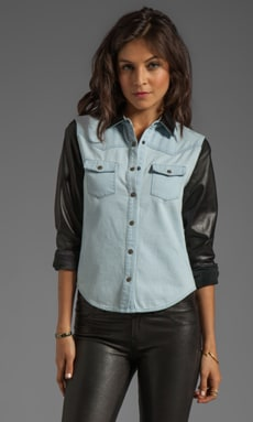 Joe's Jeans Denim with Leather Western Shirt in Julia