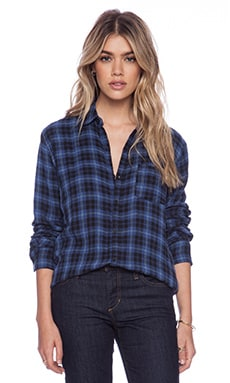 Joe's Jeans Single Pocket Shirt in Blue & Black Plaid