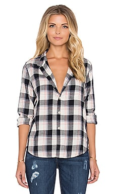 Joe's Jeans Jamie Button Up in Cream & Black Plaid