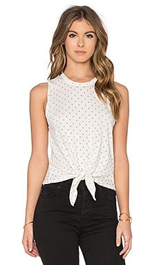 Joe's Jeans Star Knot Tank in Black & Vintage White Star Print