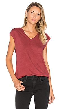 Lennox V Neck Tee in Ruby