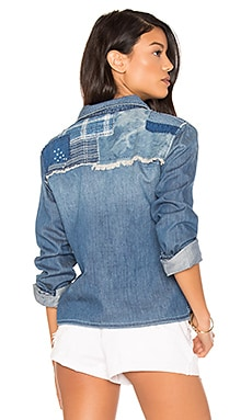 Josie Crop Button Up in Medium Stonewash