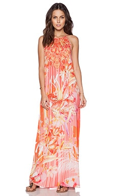 Johanne Beck Tie Halter Maxi Dress in Sunset Lilies