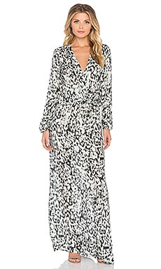 Johanne Beck Hera Wrap Front Maxi Dress in Olive Abstract