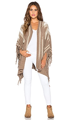 Joie Ignacie Fringe Poncho in Heather Grey & Heather Oatmeal