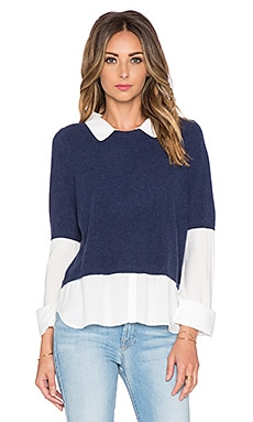 Joie Thevenette Sweater Top in Heather Deep Sapphire & Porcelain