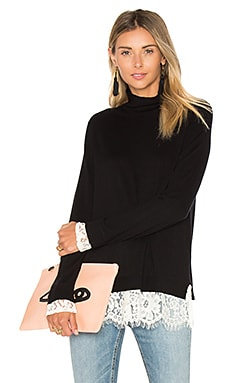Fredrika Lace Sweater in Caviar & Porcelain