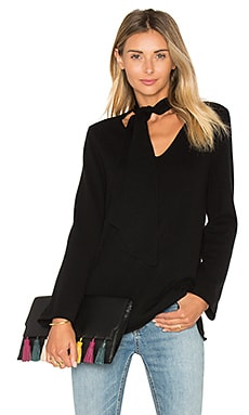 Delores Neck Tie Sweater en Caviar