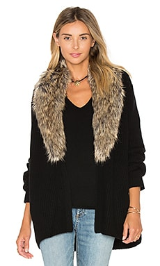 Joie Evina Faux Fur Cardigan in Caviar & Natural