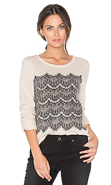 Rosaleen Lace Sweater in Heather Cream & Caviar