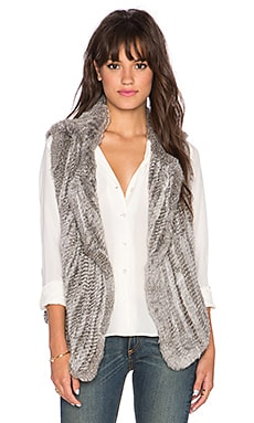 Joie Andoni Rabbit Fur Vest in Grey Natural