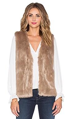 Joie Nimoy Faux Fur Vest in Deep Mushroom