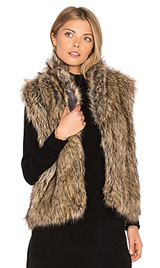 Pruce Faux Fur Vest en Natural & Heather Mushroom Knit