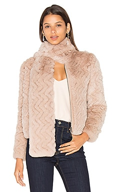 Sela Rabbit Fur Jacket in Mushroom