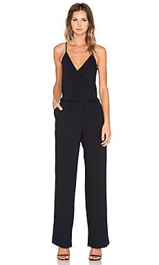 Joie Beata Satin Back Jumpsuit in Caviar