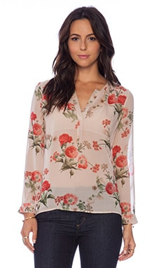 Joie Maurelle Floral Blouse in Pink Champagne
