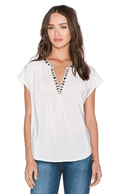 Joie Bosi Top in Porcelain & Caviar