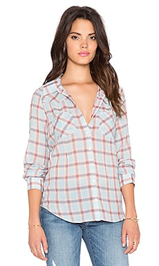 Joie Pensee Plaid Button Up Top in Mineral