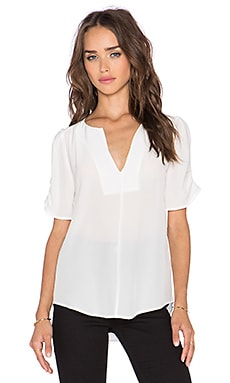 Joie Amone Short Sleeve Top in Porcelain