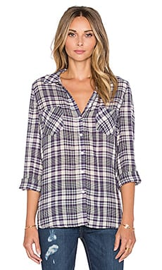 Joie Aidan Button Up Top in Plaid