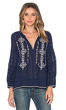 Joie Lemay Top in Dark Navy, Porcelain & White Rose