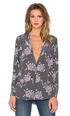 Joie Digital Roses Arnica Blouse in Steel