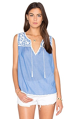 Joie Gavriel Tank in Washed Denim & Porcelain