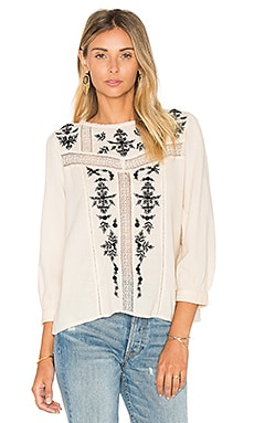 Oakes Embroidered Blouse in Almond & Caviar