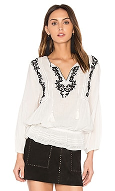 Virani Peasant Blouse in Porcelain & Caviar
