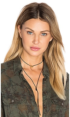 joolz by Martha Calvo Star Wrap Cord Choker in Black Leather & Gold