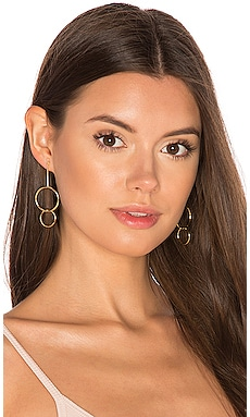 Double Drop Hoop Earrings in Gold