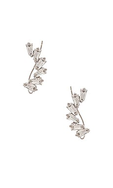 joolz by Martha Calvo Deco Rhinestone Ear Crawler in Silver