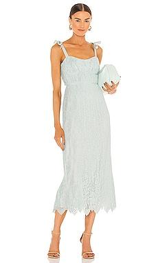 Bonnie Silk Lace Plisse Strapless Bustier Midi Dress JONATHAN SIMKHAI $645