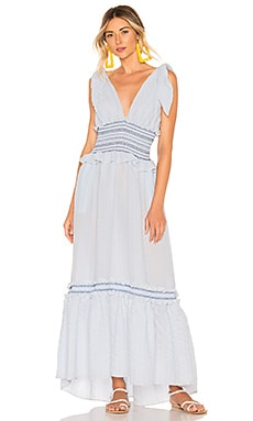 Smocked V Neck Dress JONATHAN SIMKHAI $465
