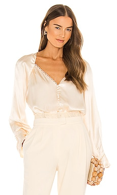 Joanne Silk Lace Plisse Long Sleeve Bodysuit JONATHAN SIMKHAI $395 BEST SELLER