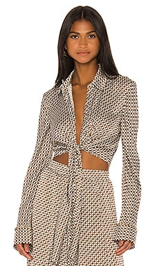 Chain Print Front Twist Top JONATHAN SIMKHAI $275 NEW ARRIVAL
