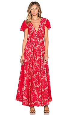 THE JETSET DIARIES Piazza Maxi Dress in Ruby