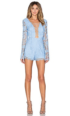 THE JETSET DIARIES Pisa Lace Romper in Cornflower