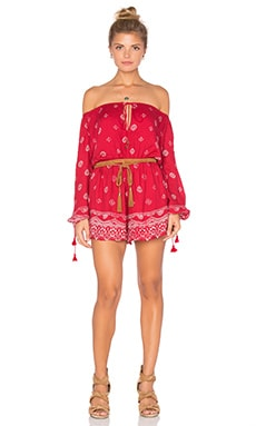 THE JETSET DIARIES Fuego Romper in Red Robe Print