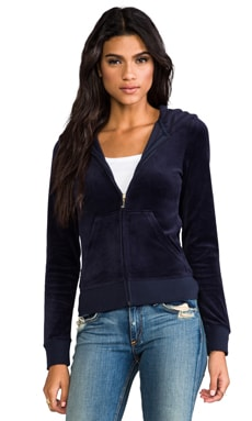 Juicy Couture Laurel Velour Hoodie in Regal